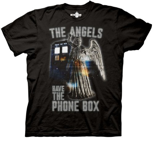 Doctor Who Weeping Angels Have the Phonebox T-shirt (Medium, Black)