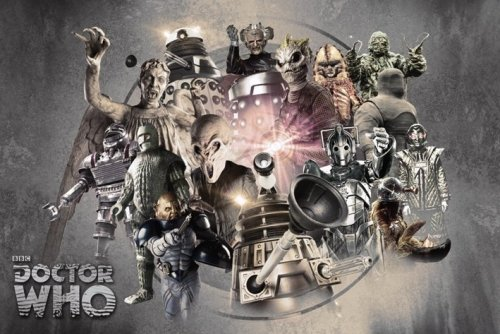 Doctor Who – TV Show Poster (Enemies Through Time – Daleks, Weeping Angels, Cybermen…) (Size: 36″ x 24″)