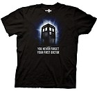 Men's size large – Dr Doctor Who Never Forget First Dr. Black Adult Tee T-shirt