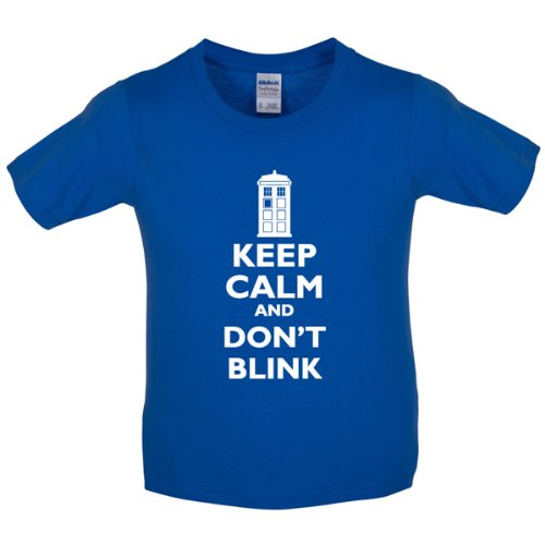 Keep calm and Don't Blink – Childrens / Kids T-Shirt – Royal Blue – XL (12-14 Years)