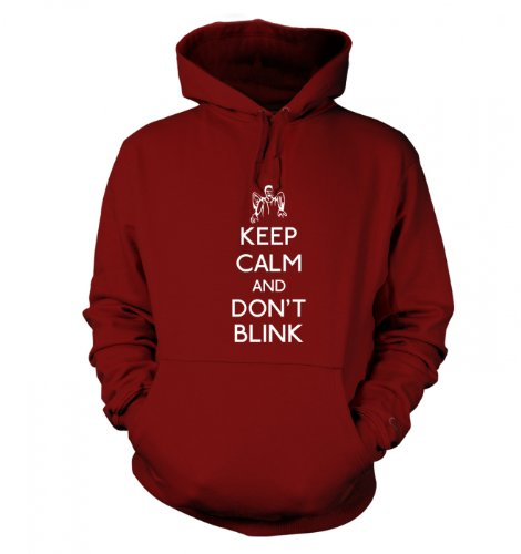 Keep Calm And Don't Blink Hoodie (X Large (48″ Chest)/Red Hot Chilli)