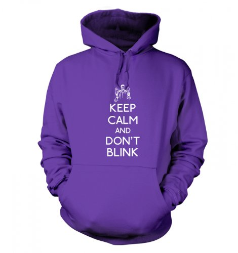 Keep Calm And Don't Blink Hoodie (Large (44″ Chest)/Purple)