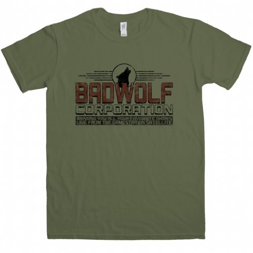 Inspired by Doctor Who t shirt – Bad Wolf – X-Large – Olive