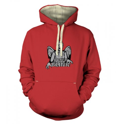 Don't Blink Weeping Angel Premium Hoodie (Medium (42″ Chest)/Dusty Red)