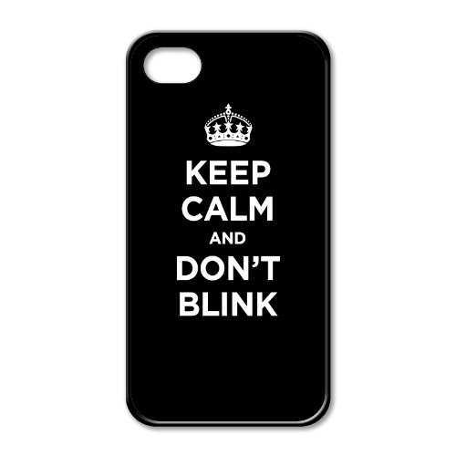 Black rubber case for iPhone 4/4S: KEEP CALM AND DON'T BLINK BLACK WW2 WWII PARODY SIGN (One black rubber case)