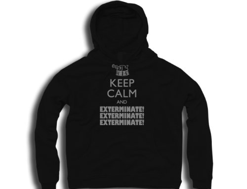 DTG Clothing Retro Keep calm and exterminate Mens Hoodies – Black – Mens Medium