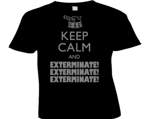 DTG Clothing Retro Keep calm and exterminate Girls T Shirts – Black – Girls 8