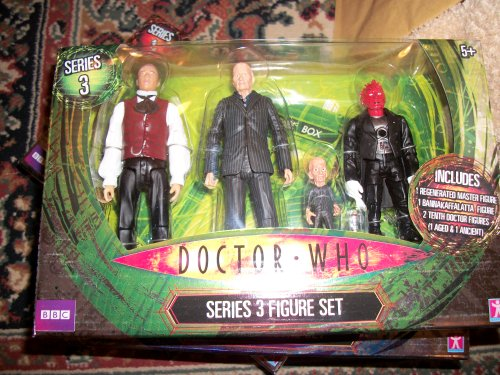DOCTOR WHO SERIES 3 FIGURE SET.MASTER.BANNAKAFFALATTA.AGED DR.ANCIENT DR