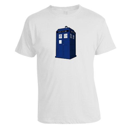 Men's Doctor Who Tardis Tee Crew Neck T Shirt (White) (X-Large)