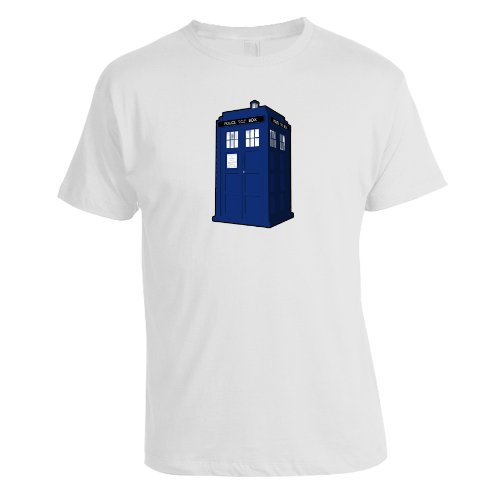 Men's Doctor Who Tardis Tee Crew Neck T Shirt (White) (Small)