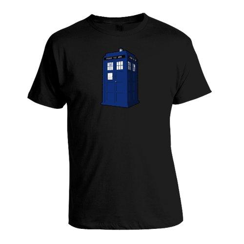 Men's Doctor Who Tardis Tee Crew Neck T Shirt (Black) (X-Large)