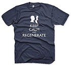 KEEP CALM AND REGENERATE (DOCTOR WHO FANDOM) MEN'S / UNISEX TEE (BLUE SIZE XL)