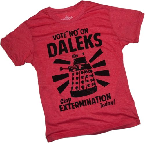 """Vote """"No"""" On Daleks Poster — Doctor Who Adult T-Shirt, XX-Large"""