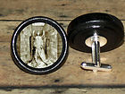 GRAVEYARD ANGEL weeping RAVEN Poe Altered Art CUFF LINK or HAIR PIN pair Set
