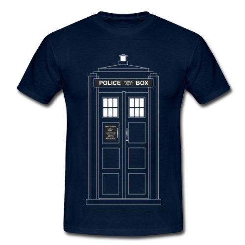 Spreadshirt, police_call_box_clear, Men's Classic T-Shirt, navy, XXL