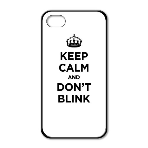 Black rubber case for iPhone 5: KEEP CALM AND DON'T BLINK WHITE PLAIN COLOURLESS WW2 WWII PARODY SIGN (One black rubber case)