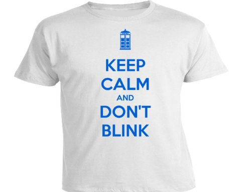 DTG Clothing Dr keep calm and dont blink Mens T Shirts – White – Mens Small