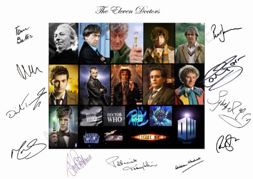 DR WHO THE ELEVEN DOCTORS SIGNED A4 PHOTOGRAPH (DOCTOR WHO – DAVID TENNANT – MATT SMITH – TOM BAKER JON PERTWEE) SIGNED BY ALL 11 DOCTORS