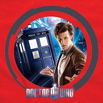 Dr Who kids red T shirt 'Space' design (11th Dr &Tardis) – Age 7-8