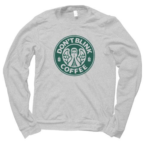 Doctor Who Don't Blink Coffee (Turquoise On Grey) Jumper (Medium)