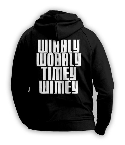 Wibbly Wobbly Timey Wimey Doctor Who Mens Hoodie (White on Black) (Medium)