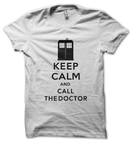 Keep Calm And Call The Doctor White T-shirt (XX-Large)