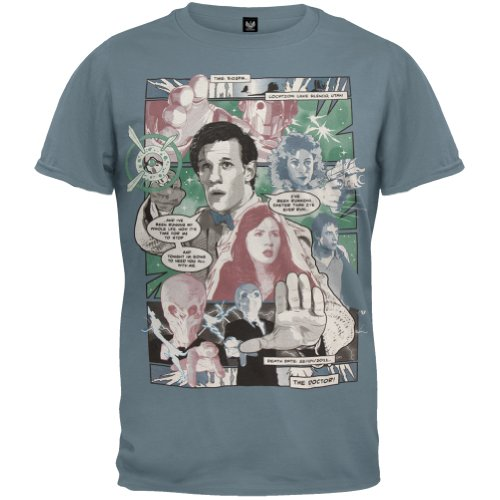 Old Glory – Doctor Who – Mens Comic Book T-shirt – X-Large Blue