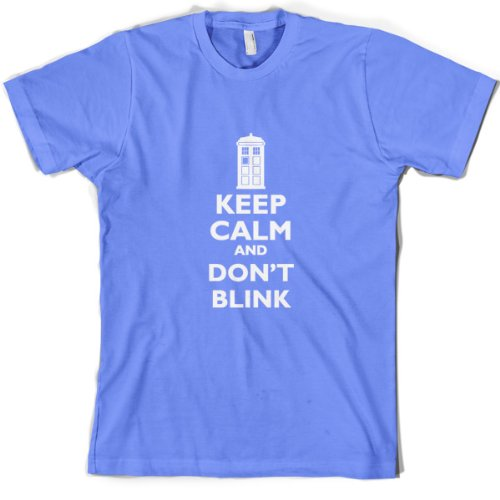 Keep Calm And Don't Blink – Mens T-Shirt-Sky blue-Small