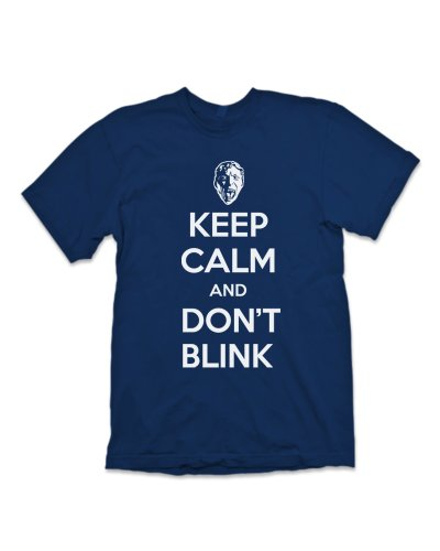 'Keep Calm and Don't Blink' Geek T-Shirt Inspired By Dr Who – (Navy Blue) M