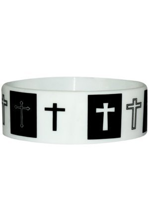 Black & White Crosses Rubber Wristband
