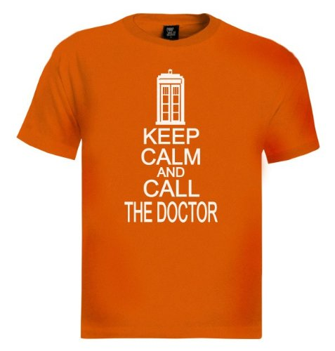 KEEP CALM AND CALL THE DOCTOR Orange XX-Large T-Shirt