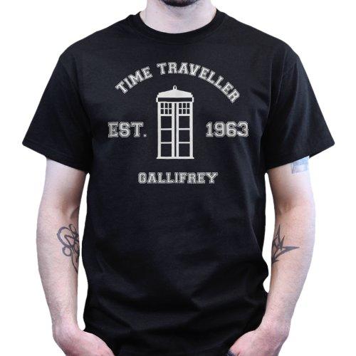 Dr Who Time Travel Established 1963 Gallifrey Tshirt Black 2XL