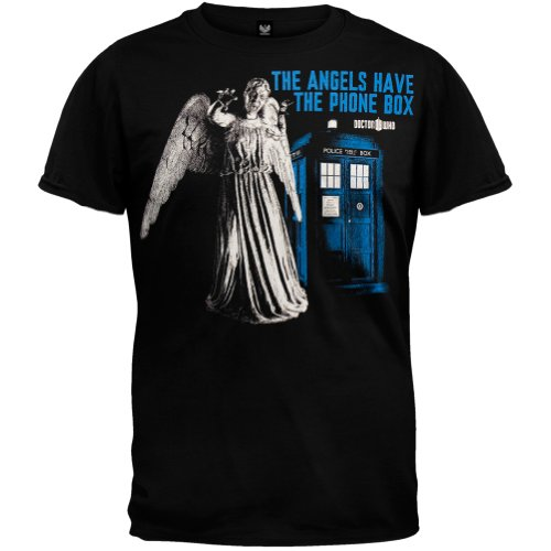 Doctor Who – Mens Angels Have The Phone Box T-shirt – 2X-Large Black