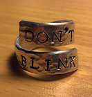 """Doctor Who – Ring w/ stamped phrase """"Don't Blink"""" – Small/ Adjustable size 5-6"""