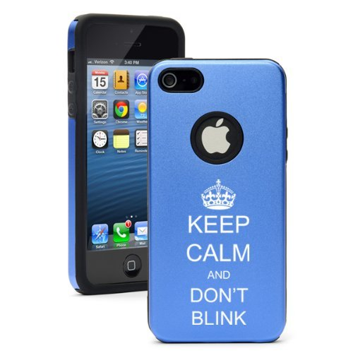 Apple iPhone 5 5S Blue 5D5204 Aluminum & Silicone Case Cover Keep Calm and Don't Blink