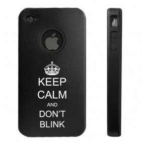Apple iPhone 4 4S 4G Black DD1018 Aluminum & Silicone Case Keep Calm and Don't Blink