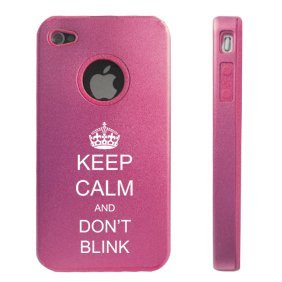 Apple iPhone 4 4S 4G Pink DD1024 Aluminum & Silicone Case Keep Calm and Don't Blink