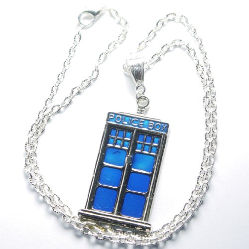 "Charm Buddy Doctor Dr Who Enamel Tardis Police Box Pendant Necklace with 20 "" / 50cm Silver Plated Chain and Organza Gift Bag perfect Christmas Stocking Filler"