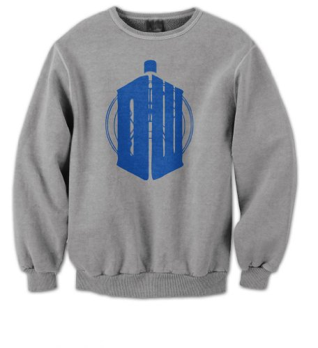 Doctor Who Mens Sweater (Blue on Grey) (XX-Large)