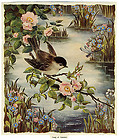 vintage margaret lynes print song of summer – bird on wild rose branch by river