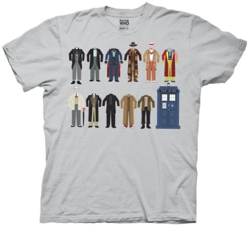Doctor Who Outfits Cotumes Tardis Mens T-shirt (Small, Silver)