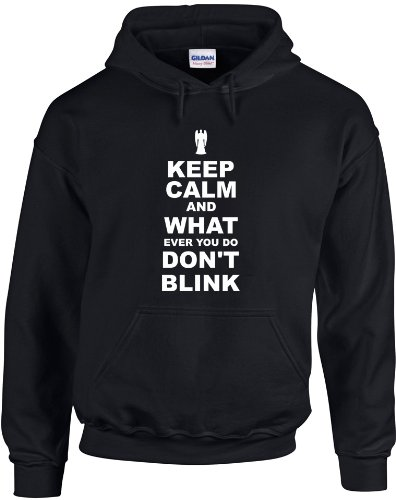 Keep Calm and Don't Blink, Printed Hoodie – Black/White S