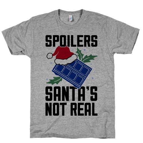 Spoilers Santas Not Real Crewneck T-Shirt (Heather Gray, Size Medium)