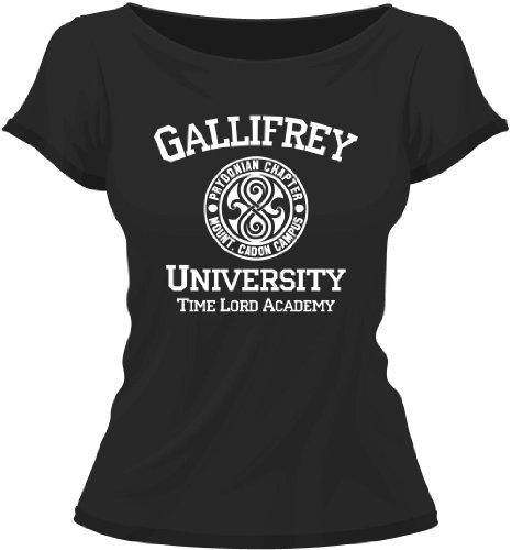 Gallifrey University Call The Doctor Lady / Girly / Women T-Shirt Tee, Black, M