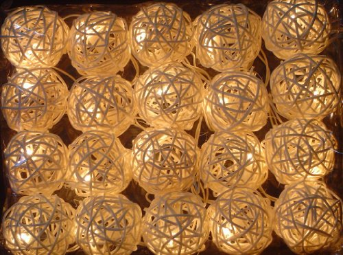 New Solar Powered LED White Rattan Garden Lantern Fairy Light String – by DALEK DESIGNS TM