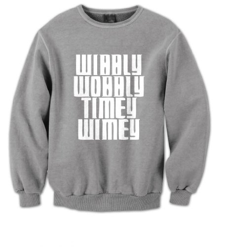 Doctor Who – Wibbly Wobbly Timey Wimey Mens Sweater (White on Grey)(Small)