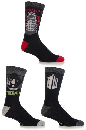 Mens 3 Pair SockShop Doctor Who Socks Assorted 11-13