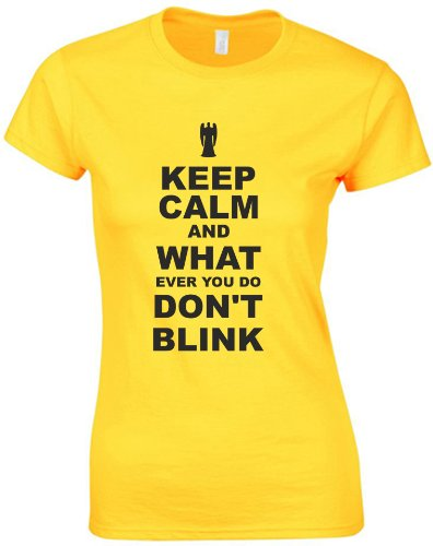 Keep Calm and Don't Blink, Ladies Printed T-Shirt – Daisy/Black L = 10-12