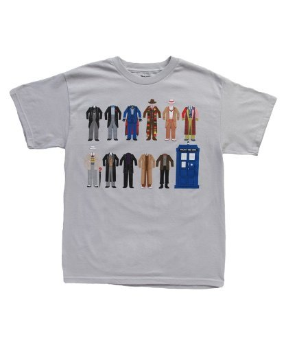 Doctor Who Outfits Cotumes Tardis Mens T-shirt (Large, Silver)