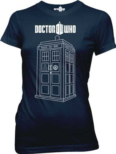 Dr. Doctor Who Police Booth Linear Tardis Navy Juniors T-shirt Tee (Juniors X-Large)
